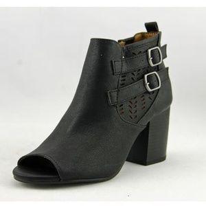 JELLYPOP Black Faux Leather Logan Peep-Toe Booties